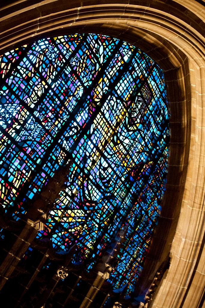 Fensterausschnitt in der Liverpool Cathedral